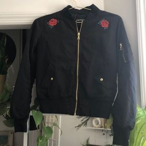 EXPRESS Custom Bomber Jacket with Rose Patches